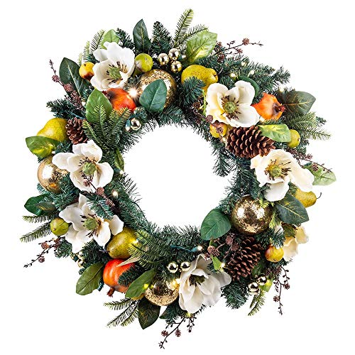 30 Inch Artificial Christmas Wreath - Magnolia Orchard Collection - Pear and Pomegranate Decoration - Pre Lit with 50 Warm Clear LED Mini Lights - Includes Remote Controlled Battery Pack with Timer