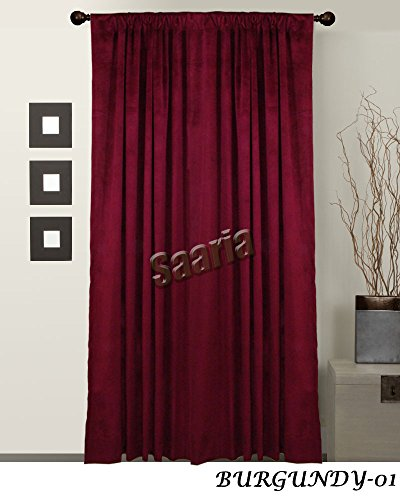 SAARIA Burgundy Velvet Custom Made Panel Drapes Concert Stage Display Curtain 18 ft W x 10 ft H