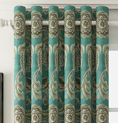 25 Sizes Available Set of 1 panel 72W x 63L Grommet Top Room Darkening Thermal Insulating Blackout Curtain European Luxurious Window Treatment Draperies