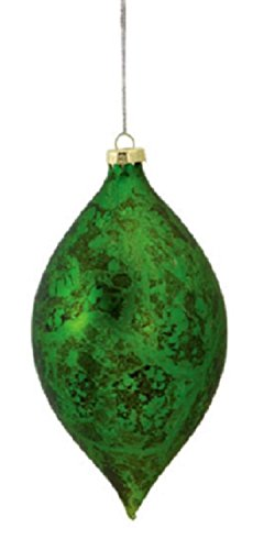 6 Decorative Distressed Antique Green Glass Christmas Finial Ornament