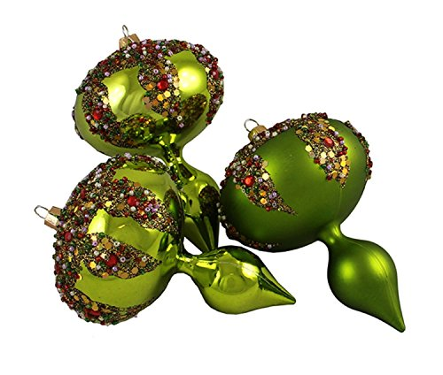 By Barcana 3ct Lime Green Glitter Sequin Beaded Shatterproof Christmas Finial Ornaments 5