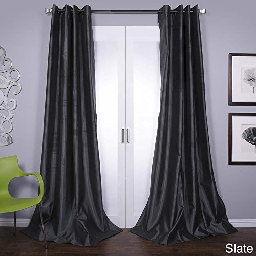 Lambrequin Mia Lined Grommet Top 84-inch Textured Faux Silk Curtain Panel Slate