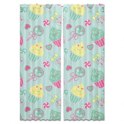 Happy Desserts Mint Curtain Standard Lined Window Treatment Set of 2 Panels for Living Room Bed Room