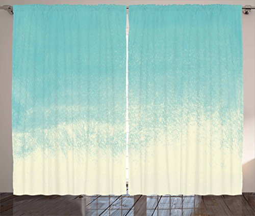 Mint Curtains by Ambesonne Abstract Gradient Color Tone Watercolor Background Creative Hazy Modern Art Living Room Bedroom Window Drapes 2 Panel Set 108W X 84L Inches Seafoam Almond Green