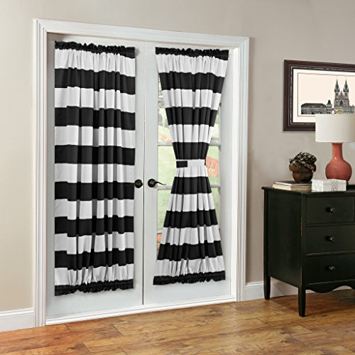 TURQUOIZE Blackout French Door Patio Door Panels Rod pocket curtains 1 Piece 52 W x 72 L Black and White Stripes