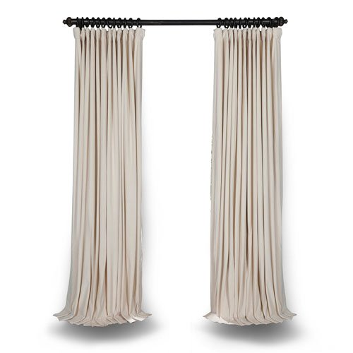 Rose Street Ivory Double Wide 84 x 100 In Velvet Blackout Pole Pocket Single Panel Curtain