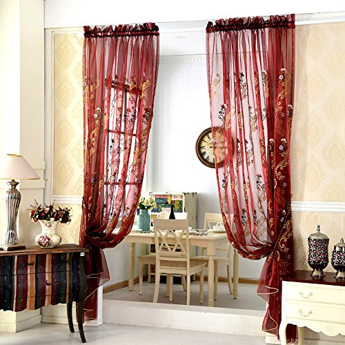 AUSWIND European Embroidery Rod Pocket Top Sheer Curtain Fabric Blinds Drapes one Panel 84x96 Red