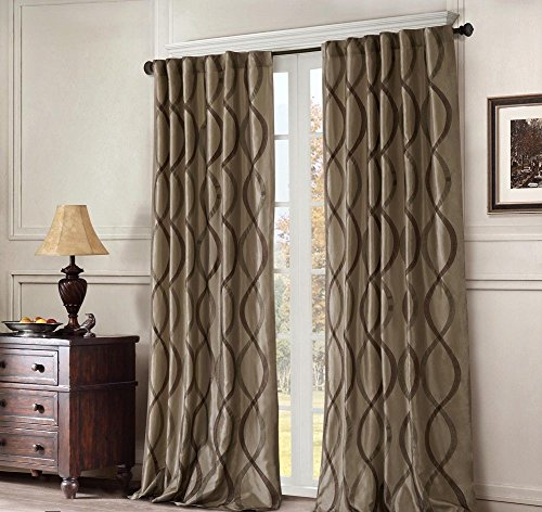 1 Piece Girls 95 Inch Dark Tan Embroidered Oggi Curtain Single Panel Tan Brown Color Drapes Damask Pattern Window Treatments Stylish Casual Kids Themed Ikat Vertical Lines Design Polyester Stripe