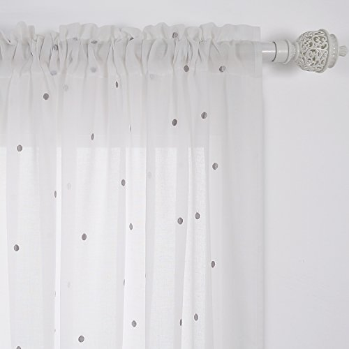 Deconovo Curtains Embroidered Grey Dot India White Cotton Curtain Panels Rod Pocket Sheer Curtains For Bedroom 52W x 84L Inch White One Pair