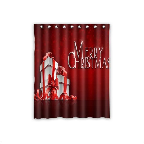 Scottshop Custom Merry Christmas Window Curtain Thermal Insulated Blackout Window Curtains DraperyPanelsTreatment Polyester Fabric 52 x 63 Inch 1 Piece