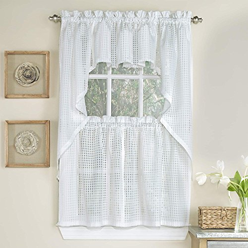 bed bath n more White Tone-on-tone Raised Micro-Check Semi-Sheer Window Curtain Pieces SWAG PAIR WHITE
