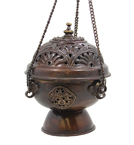 DharmaObjects Tibetan Hanging Incense Burner Copper Medium