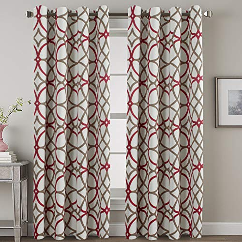 HVERSAILTEX Blackout Curtain Panels 84 for Living RoomBedroom - Functional Geo Trellis Window Treatment Thermal Insulated Grommet Curtains Draperies Noise Reducing Drapes 2 Panels Taupe Red