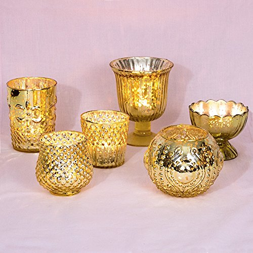 Luna Bazaar Vintage Glam Mercury Glass Candle Holders Gold Set of 6 - For Use with Tea Lights - For Home Decor Parties and Wedding Decorations - Mercury Glass Votive Holders