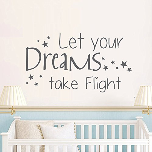 Wall Decal Decor Baby Wall Decal Quote Let Your Dreams Take Flight Vinyl Decals Stars Art Mural Sticker Bedroom Interior Design Kids Nursery DecorBlack 125h x22w