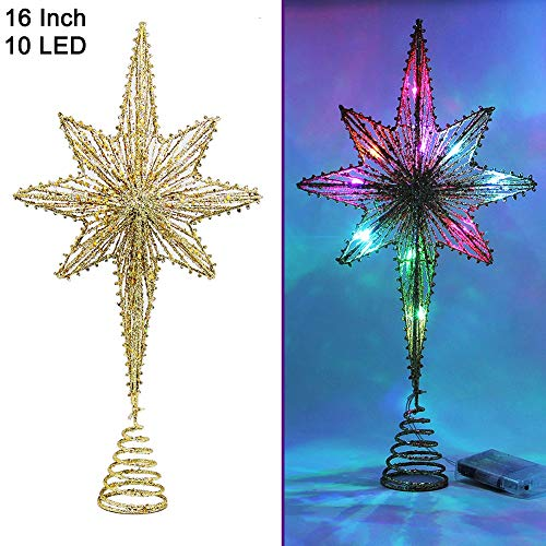 Twinkle Star Lighted Christmas Tree Topper Bethlehem Star Treetop with 10 LED Colorful Fairy Lights Holiday Christmas Tree Decorations 16 Inch H
