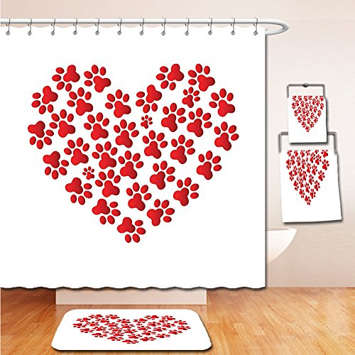 LiczHome Bath Suit Showercurtain Bathrug Bathtowel Handtowel Cat Lover Decor Collection Heart Shaped with Cat Dog Paw Prints Fashion Modern Romantic Fun Design Tapestry White Red