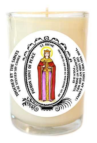 Saint Irene Patron of Peace 8 Oz Scented Soy Glass Prayer Candle