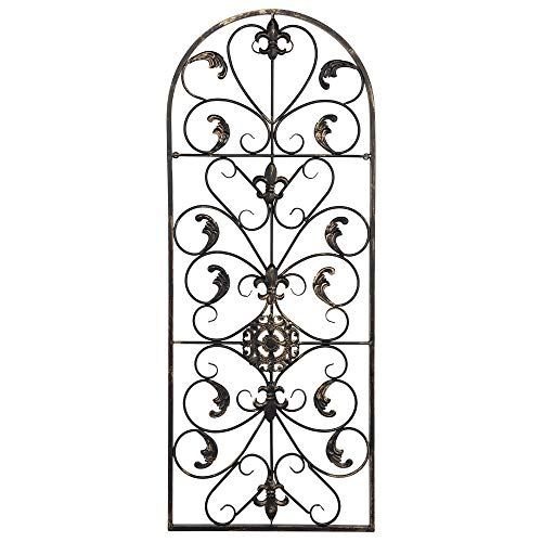 Adumly Arched Wrought Iron Wall Art Sculpture Vintage Tuscan Indoor Outdoor Gate Decor