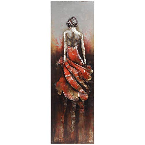Empire Art Direct Lady Iron Wall Art 3D Metallic Hand Painted SculptureReady to HangLiving Room Bedroom & Office 22 in x 28 in x 72 in RedBrown
