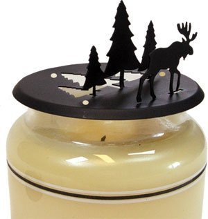 C-LD-22 Moose and Pine Candle Jar Topper by Village Wrought Iron