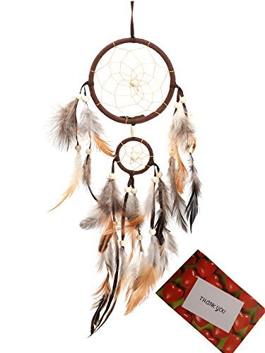 BS Brown Handmade Beaded Feather Dream Catcher Circular Net For Car Kids Bed Room Wall Hanging Decoration Decor Ornament Craft  Gift bag  Gift Card Dia of Circle 433inch11cm197inch5cm