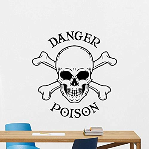 Skull Poison Sign Wall Decal Danger Sign Skeleton Skull and Bones Logo Vinyl Sticker Horror Wall Decor Cool Wall Art Living Room Wall Design Modern Bedroom Wall Decor Mural 319RT