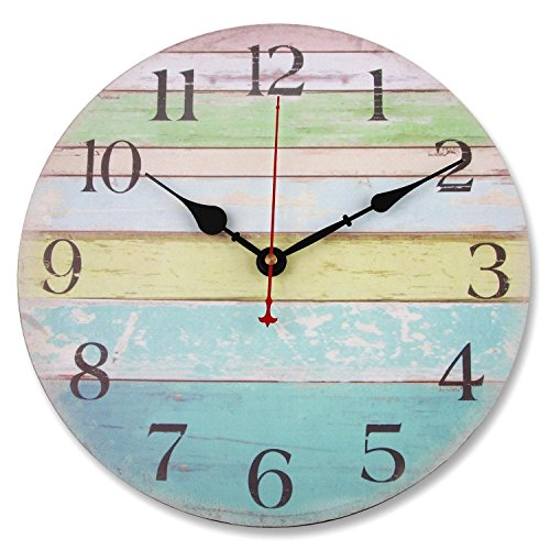 Soledi Wall Clock 12 Vintage Colorful Stripe Rustic Country Tuscan Style Wooden Decorative Ocean