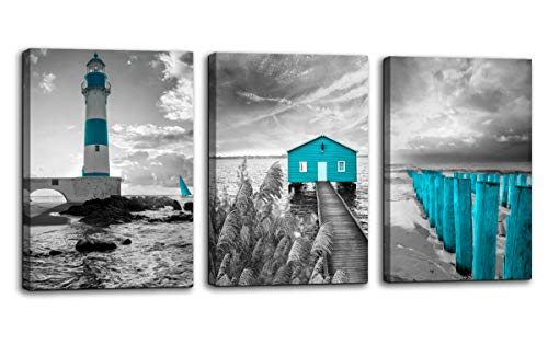 Beach Coastal Canvas Wall Art for Living Room Teal Seacoast Cabin Bridge Lighthouse Black and White Seascape Picture Print Artwork Modern Home Bedroom Bathroom Wall Decoration Decor 16x24 3 Pieces