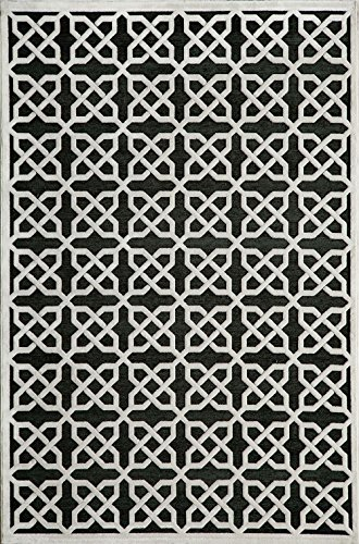 Contemporary 5x7 Rectangle Area Rug in Ebony color from Krai Collection