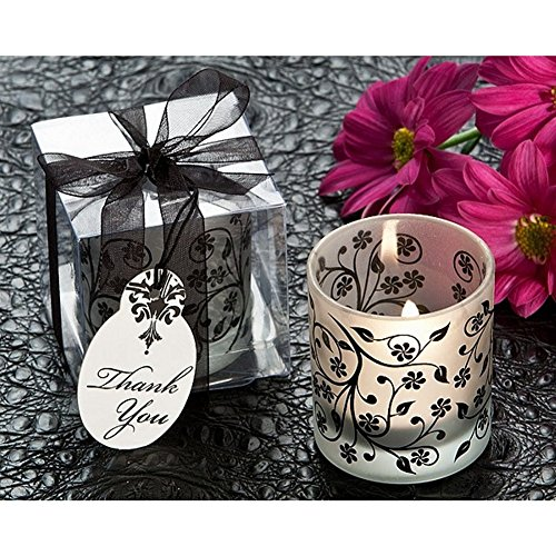 Frosted Elegance Black and White Votive Tea Light Candle Holder Pack of 48