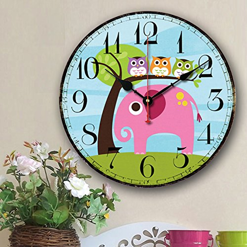 Cute Wall Clock 14 Eruner Modern Family Animated Cartoon Decoration 14-Inch Wood Clock Painted Elephant Owl Lovely Style Silent Quartz Movement 12888 for Nursery Kids Room DecalElephant M5