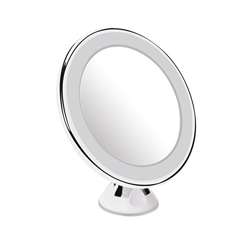 10x Magnifying Lighted Makeup Mirror Rockrok Daylight LED Bathroom Vanity Mirror for Home Travel Cosmeticwith Strong Locking Suction 360 Degrees Rotation Battery Operated