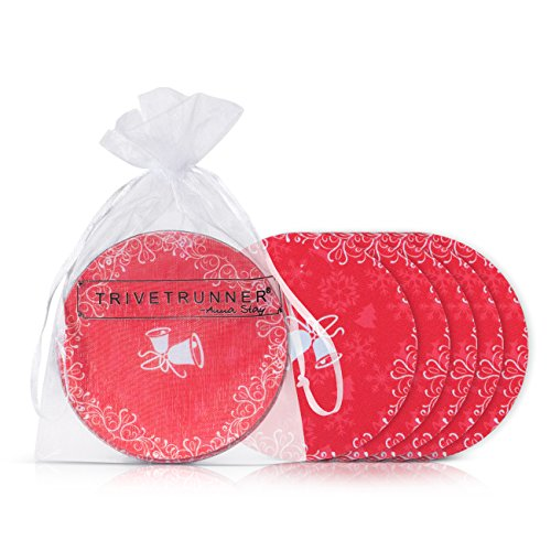 CHRISTMAS Bells Trivetrunner modern Drink Coaster Set 6 Flat 4-Inch Round Discs Protect SurfacesTableBarDesk from Hot or Cold Drinks Anti-SlipFor GlassMug or Cup 5 Design Choices Red