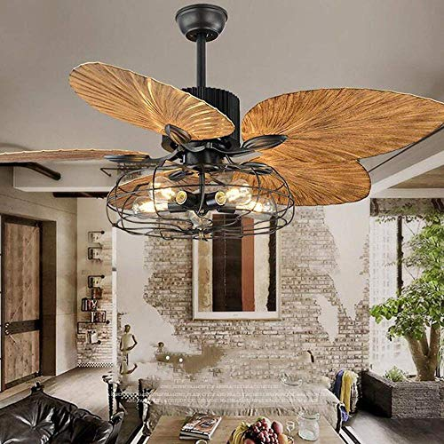 Industrial Cage Ceiling Fan with Light Tropical 5 Lights Remote Control Indoor Chandelier Fan Light Palm 5 Reversible Blades Vintage Quiet Fan Light Black Finish 52-Inch