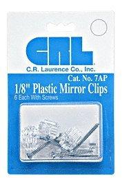 CRL 18 Standard Plastic Mirror Clip - Package 6 clips with Screws