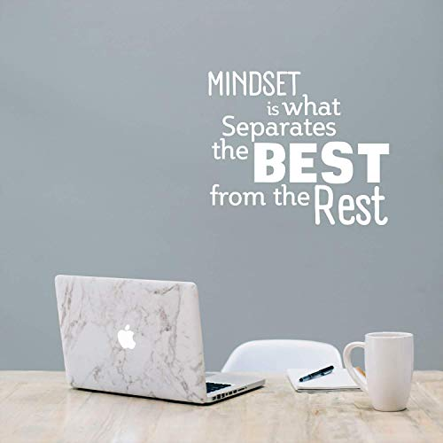 Mindset is What Separates Best from The Rest - Inspirational Quotes Wall Art Vinyl Decal - 23 x 27 Decoration Vinyl Stickers - Motivational Wall Art Decals - Home Office Room Decor White