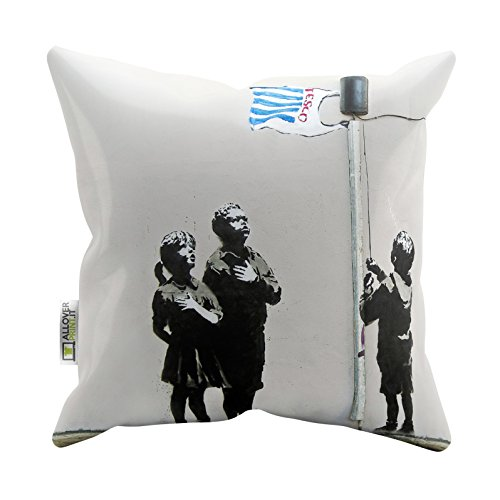 Banksy Pillow Cases Tesco Bag Flag Printed Soft Faux Suede Cushion Covers