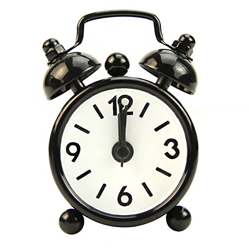 YingNeng Home Portable Outdoor Cute Mini Cartoon Dial Number Round Desk Alarm Clock-Black