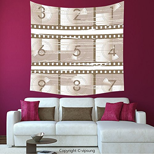 House Decor Square Tapestry-Numbers Decor Vector Style Illustration Of Countdown Numbers On A Film Strip Pattern Umber Warm Taupe_Wall Hanging For Bedroom Living Room Dorm