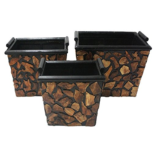 Essential Décor Entrada Collection 3 Piece Wooden Planter 20 x 15 x 15