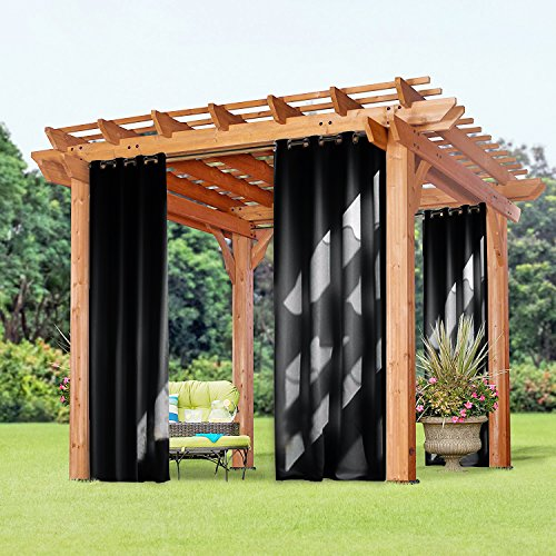 95 Long Blackout Outdoor Curtain - PONY DANCE Mildew Resistant Indoor and Outdoor Blackout Curtain Drape Shade52 by 95 inchesBlackSet of 1 Panel