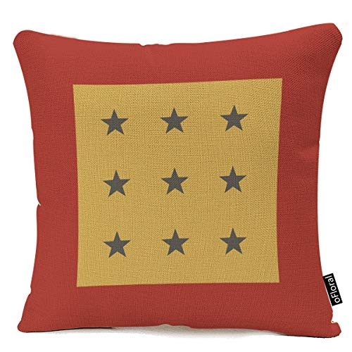 Home Decor Square Double Printed Throw Pillow Covers Vintage Stars Cotton Linen Cushion Cases Pillowcases for Sofa Bedroom Car 18 X 18 Inch 45 X 45cm