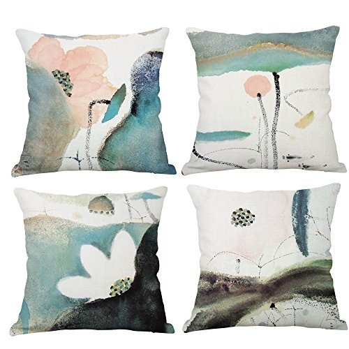 Set Of 4 Lotus Plant Decorative Throw Pillow Covers Cotton Linen Square Cushion Covers Outdoor Couch Sofa Home Pillow Covers 20x20 Inch