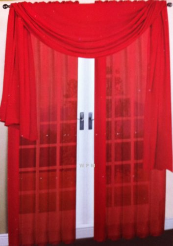 3 Piece Red Sheer Voile Curtain Panel Set 2 Red Panels and 1 Scarf