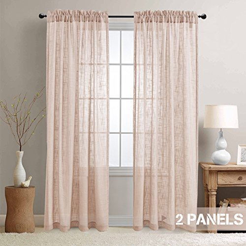 Topick Sheer Voile Curtain Panels for Living Room Open Weave Linen Like Sheer Curtains for Kitchen Two Panels 55-by-63 Inch Taupe
