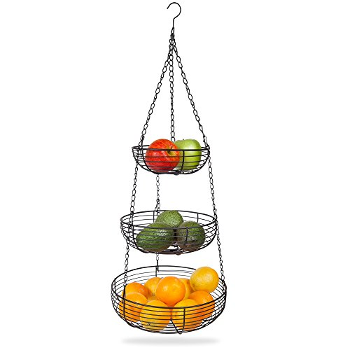 Home Intuition 3-Tier Hanging Basket Heavy Duty Wire Round Black