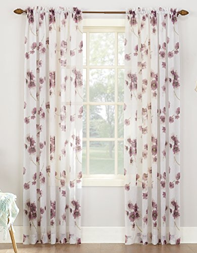 No 918 Kiki Floral Print Crushed Sheer Voile Rod Pocket Curtain Panel 51 x 63 Lavender Purple