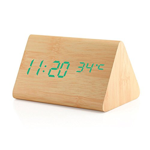 Dual power Multi-function Wooden LED Alarm Clock with Temperature display Five intelligent alarm Sound-control screen Bamboo