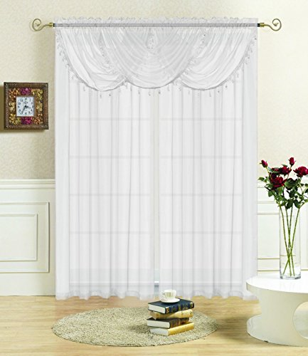 DN_LIN Wonderful Solid Sheer Voile Window Treatment Lisa Curtain Panel Waterfall Fringe Valance Valance 36x35-White